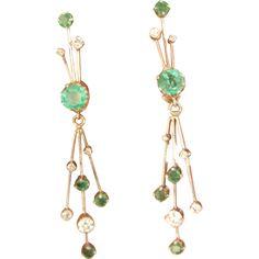 Estate W/Gold ctw. Diamond Drop Earrings, Emerald Diamond, Round Cut Diamond, Emerald Green, Gold Spray, Quality Diamonds, Vintage Wear, Ruby Lane, White Gold