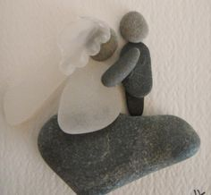 From my love for beachcombing, I create little bride and groom collages from the pebbles, shell bits and sea glass I find on the Kennebunk Beach in Maine. No two are alike. What you will receive is a Stone Crafts, Rock Crafts, Arts And Crafts, Sea Glass Crafts, Sea Glass Art, Rock Sculpture, Pebble Pictures, Rock And Pebbles, Beach Crafts