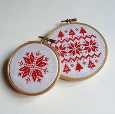 Nordic/Scandi snowflake design cross stitch embroidery hoop art christmas decoration.