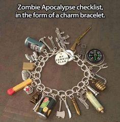Zombie apoca;ypse checklist in the form of a charm bracelet