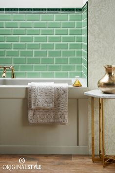 Wall tiles by Original Style, Artworks Range, Victorian Green Dentil and Jade Breeze Metro tiles. The soft green tint of this classic metro tile looks great alongside the rich Victorian Green moulding tile. A luxurious combination for any bathroom. Small Sink, Small Bathroom, Bathroom Things, Pantone 2017 Colour, Pantone Greenery, Color Of The Year 2017, Black Towels, Victorian Bathroom, Metro Tiles