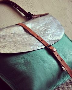 Silver turquoise leather briefcase by @burtsevbags