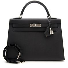 Brand New Hermes Kelly 32 Black Epsom PHW (42.530 BRL) ❤ liked on Polyvore featuring bags, hermes bag and hermès