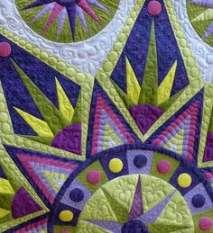 detail, Mardi Gras by Gerri Smit (pattern:  'Sedona Star' by Sarah Vedeler). 2nd place, Bed or Wallquilt Longarm/Midarm Quilted. 2014 National Juried Show ~Canadian Quilters Association (CQA)