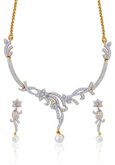 Peora Gold Necklace Set With Pearl -