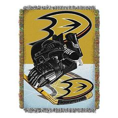 NHL Anaheim Ducks Throw Blanket 48x60 Black Gold Orange Silver White HIA Sports Hockey Stacked Colored Polyester Soft Touch Team Logo Perfect Living