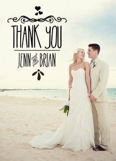 Unique Wedding Thank You Cards : Add Your Picture. $25.00, via Etsy.