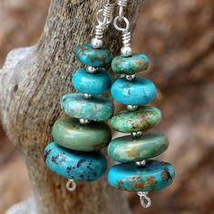 Rustic Turquoise Handmade Earrings Graduated Gemstone Jewelry Beaded   ShadowDogDesigns - Jewelry on ArtFire #AFPOUNCE