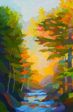 "Painting : ""Falling Leaf Brook"" (Original art by Brian Kiernan) Abstract Tree Painting, Abstract Nature, Abstract Canvas Art, Abstract Watercolor, Abstract Oil, Painting Art, Landscape Art, Landscape Paintings, Nature Paintings"