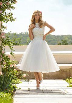 tea length bateau a-line tulle,lace full wedding dress - Gindress.com