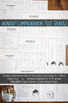 Make life easier for yourself buy purchasing this BUNDLE of reading comprehension tests for Wonder by R.J. Palacio! These tests have been aligned to standards for grades 4-6, so they're perfect for upper elementary classrooms. Each test has the student version and then an answer key for the teacher. There are five tests, which cover all eight parts of Wonder. Plus, this bundle includes an EXCLUSIVE creative writing project! Click through to make your teaching of Wonder and August Pullman…