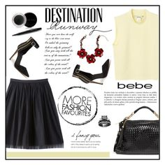 """Destination Runway with bebe : Contest Entry"" by vidrica ❤ liked on Polyvore featuring Bebe, Monki, Mary Kay, women's clothing, women's fashion, women, female, woman, misses and juniors"