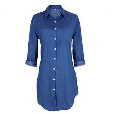 Long Sleeve Loose Denim Mini Dress - FashionandLove.com