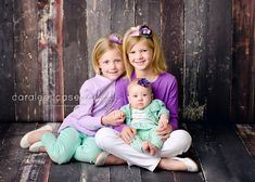 Caralee Case Photography. Baby and Child Sibling Pictures. Purple and Mint. Three Sisters.