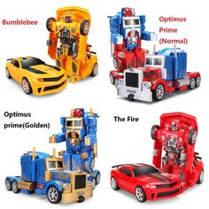 44.99$  Buy now - http://ali8x5.worldwells.pw/go.php?t=32612183235 - RC Transformation 4 electric Toys one key remote control Optimus prime children robot car action figures class Boys Gift 44.99$