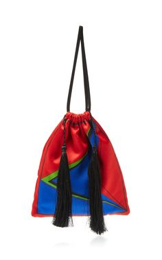 Pouch Bag in Multicolor Satin with Sequins, Pearls and Tassels Attico