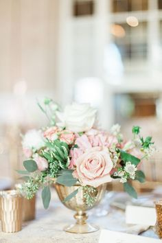 Blush and Gold Wedding Flowers | photography by http://www.calliemanionphotography.com/