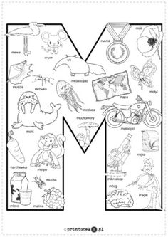 Kolorowanka M - Printoteka.pl Polish Alphabet, Polish Language, Alphabet Coloring Pages, Speech And Language, Toddler Activities, Prompts, Free Printables, Preschool, 1