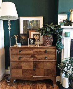 Hottest Curry, Green Rooms, Dresser As Nightstand, Brick Road, Bedroom, Table, Furniture, Yellow, Home Decor