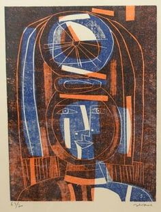 Title unknown by Argentine-Galician artist Luis Seoane (1910-1979). Woodcut.