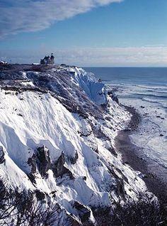 Mohegan Bluffs, Block Island, in winter