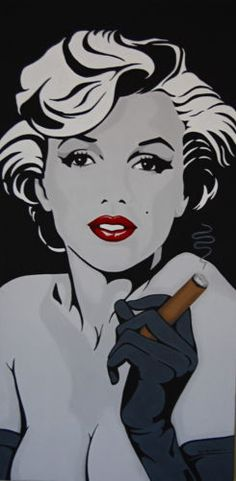 "Marilyn Monroe with Cigar Custom Painting Original 15"" x 30"" Eclectic Cool 