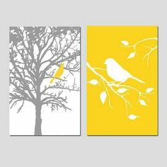 Set of Two Bird Prints Set of 2 Bird Prints - Bird Wall Art - Bird in a Tree Print - Bird Pictures - Bird Wall Art, Bird Artwork, Canvas Artwork, Guest Bedroom Decor, Bedroom Wall, Bird Bedroom, Nature Bedroom, Master Bedroom, Bedroom Prints