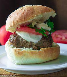 Burgers With Mozzarella And Spinach-Arugula Pesto Recipe — Dishmaps