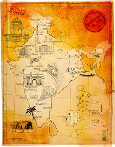 Tina Zellmer - Map of India India Map, India Travel, India India, Geography Map, Travel Illustration, Space Illustration, Pictorial Maps, Map Painting, India Facts