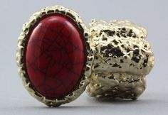 Arty Oval Ring Red Gold Chunky Armor Stretch Size 7 - 8.5 #statementring #fashion @modtoast