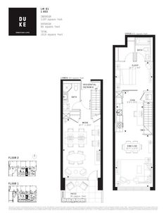 Floor plan of one of the Live-Work units at DUKE Condos, image courtesy of TAS