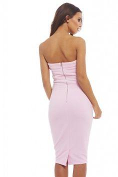 PINK STRAPLESS PLUNGE DRESS
