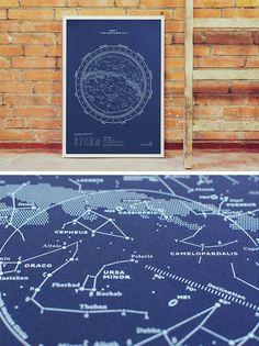 MAP I – THE NORTHERN SKY (Silkscreen Print)    Stellavie