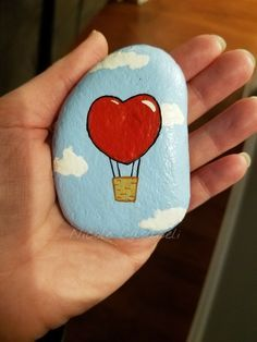 Heart hot air balloon, Valentine's day painted rock