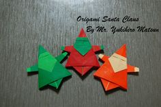 Origami Christmas Santa Claus - How to fold an Origami Santa Claus*** Mais Diy Origami, Origami Cards, Origami And Kirigami, Paper Crafts Origami, Origami Folding, Useful Origami, Paper Crafting, Origami Envelope, Paper Ornaments