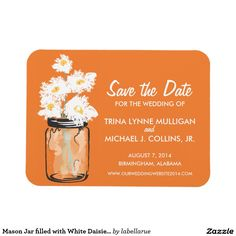 Mason Jar filled with White Daisies Save the Date