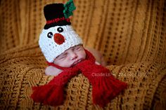 Crochet Newborn, 0-3M, 3-6M Baby Boy/Girl Frosty The Snowman Scarf and Hat Beanie Set, Custom Made Christmas Holiday Photo Photography Prop. $29.99, via Etsy.