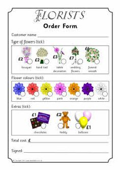 Printable order forms for use in your class' Florists/Flower Shop role-play area. Children select the type of arrangement they require, colour of flowers and additional extras such as chocolates or balloons. Dramatic Play Area, Dramatic Play Centers, Prop Box, Role Play Areas, Spring Activities, Nature Activities, Play Based Learning, Play Centre, Spring Theme