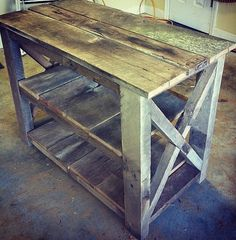 Distressed Kitchen Island, Hutch, TV Console made from Reclaimed Red Oak Barnwood by FromTheShopCreations