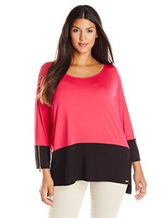 Calvin Klein Women's Plus-Size 3 Quarter Colorblock Dolman