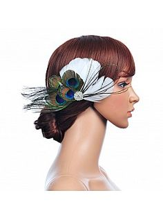 Peacock and White Feather Hair Flower with Rhinestone - AUD AU$13.42
