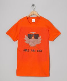 Love this Orange 'Owls are Cool' Short-Sleeve Tee - Kids by Crazy Dog on #zulily! #zulilyfinds