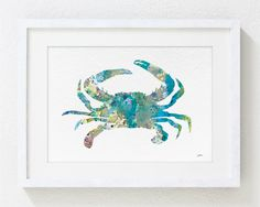 Blue Crab Art Watercolor Painting  5x7 Archival Print by ElfShoppe