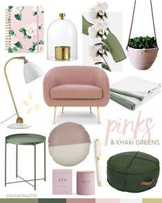 Trend: Pink & Khaki Greens — Adore Home Magazine Living Room Shop, Living Room Designs, Home Interior Accessories, Interior Design, Deco Rose, Bedroom Green, Home And Deco, House And Home Magazine, Diy Bedroom Decor