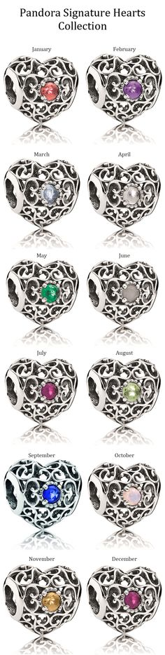Pandora Signature Hearts Collection set with birthstones. Love these! I have the ruby one...thanks Y!! What a nice suprise :)