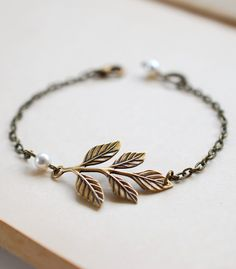 Brass Leaf Bracelet. Antiqued Brass Leaf Branch