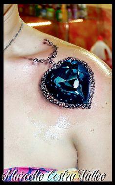 Best Tattoos ever – Tattoo Spirit Best 3d Tattoos, Great Tattoos, Unique Tattoos, Beautiful Tattoos, Small Tattoos, Juwel Tattoo, Necklace Tattoo, Locket Tattoos, Chain Tattoo
