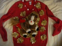 Horse ugly christmas sweater woman's small pony by keriblue4
