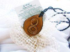 Infinite symbol necklace Carved wooden necklace Snake eating