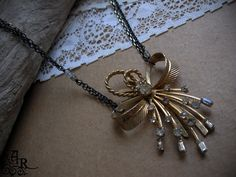 Vintage Rhinestone Assemblage Necklace with by artefactredux, $29.00